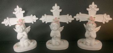 Cherub SET Praying with CROSS on BASE (Set of 3) 76614